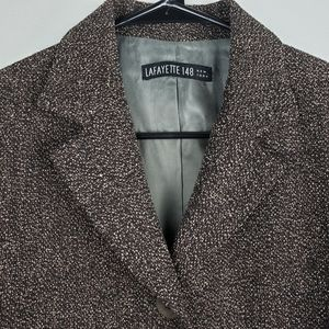 Lafayette 148 dark brown blazer wool angora blend